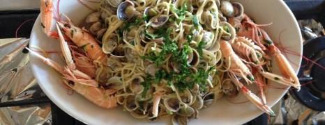Spaghettini Vongole mit Scampi