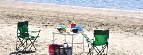 Barbecue-Picknick am Strand
