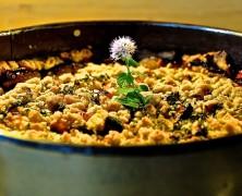 Zwetschgenkuchen mit Happy-Zimt-Streuseln, Pinienkernen und frischer Minze